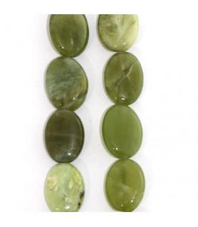 Granat grün, Strang flach oval 10 x 14mm  - 1