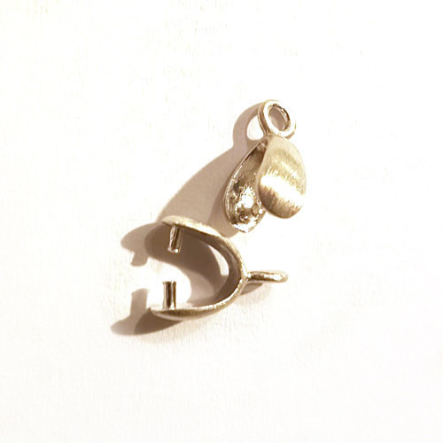 Clip/stone holder for pendant or earring silver rhodium-plated satin Steindesign - 1