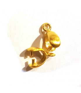 Clip/stone holder for pendant or earring silver gold-plated satin Steindesign - 1