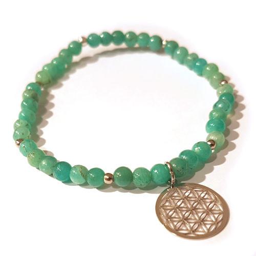 Amazonit-Armband mit Blume des Lebens Steindesign - 1