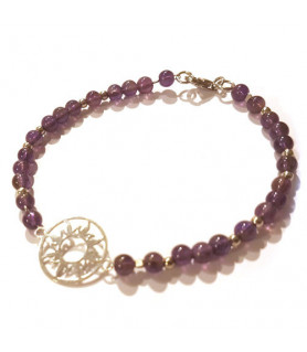 Amethyst bracelet with sun of life Steindesign - 1