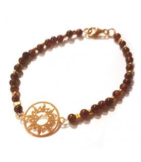 Granat-Armband mit Sonne des Lebens Steindesign - 1