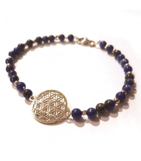 Lapis Lazuli-Armband mit Blume des Lebens Steindesign - 1