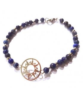 Lapis Lazuli-Armband mit Sonne des Lebens Steindesign - 1
