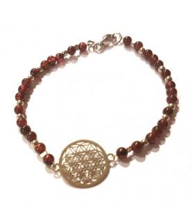 Granat-Armband mit Blume des Lebens Steindesign - 1