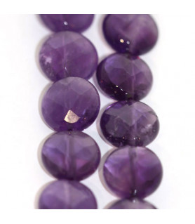 Amethyst, strand faceted round  - 1