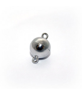 Magnetkugelschließe 10 mm, Silber rhodiniert Steindesign - 1