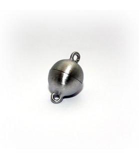 Magnetkugelschließe 10mm, Silber rhodiniert, satiniert  - 1