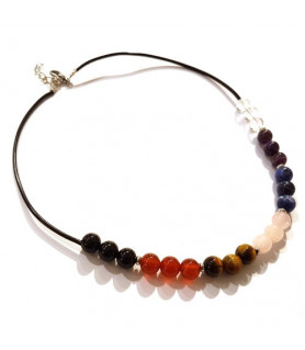 Leather Necklace Chakra Steindesign - 2