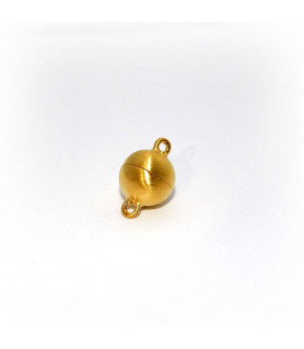 magnetic ball buckle 10mm, silver gold plated, satin finish  - 1