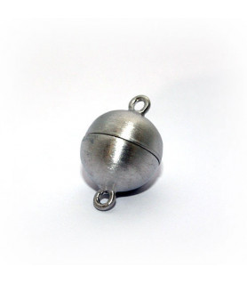 Magnetic ball buckle 12mm, silver rhodium plated, satin  - 1