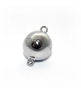 Magnetkugelschließe 14mm, Silber rhodiniert Steindesign - 1