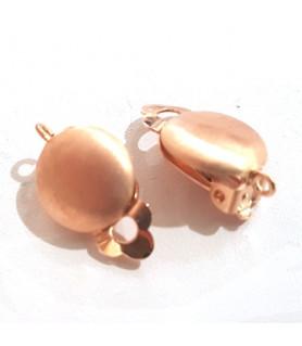 Ohrclipspatent groß, Silber rosé vergoldet matt Steindesign - 1