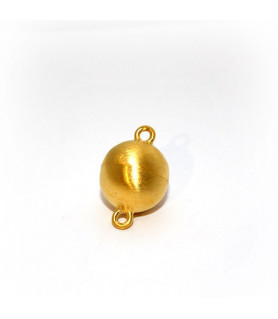 Magnetic ball buckle 14mm, silver gold plated, satin finish  - 1