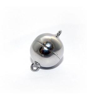 Magnetkugelschließe 18mm, Silber rhodiniert Steindesign - 1
