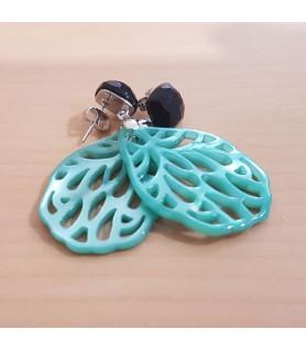Ohrringe Perlmutt türkisblau mit schwarzem Spinell Steindesign - 2