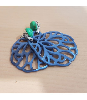 Ohrringe Perlmutt blau mit grünem Türkis Steindesign - 2