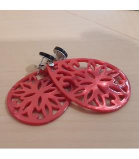 Ohrringe Perlmutt rot mit schwarzem Spinell Steindesign - 2