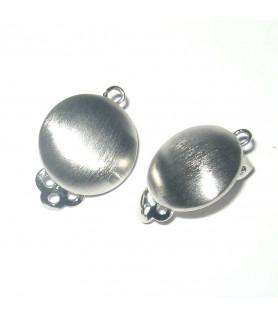 Earclip patent round medium, silver rhodium plated, satin Steindesign - 1