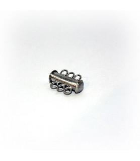 Bracelet buckle magnet 3-row short, silver rhodium plated satin  - 1