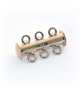 Bracelet buckle magnet 3 row short, silver gold plated  - 1