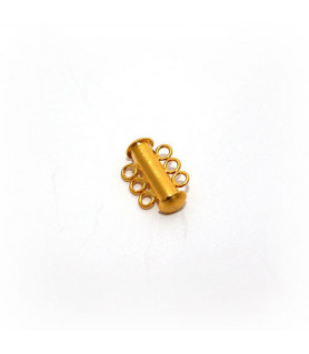 Bracelet buckle magnet 3-row short, silver gold plated satin  - 1