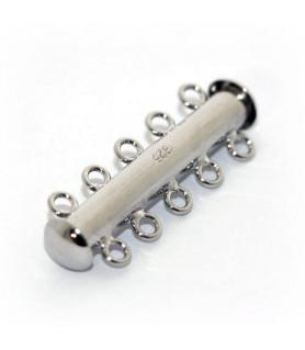 Armbandschließe Magnet 5reihig, Silber rhodiniert Steindesign - 1