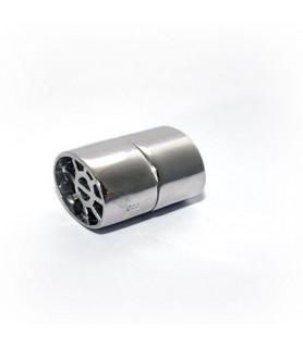 Magnetschließe Ellipse, Silber rhodiniert Steindesign - 1
