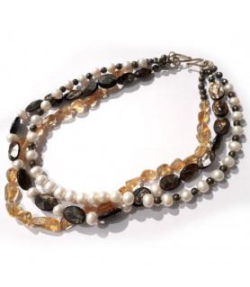 Collier Goldglimmer-Zitrin-Perle-Pyrit  - 1