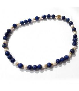 Collier Lapis Lazuli & Perle  - 1