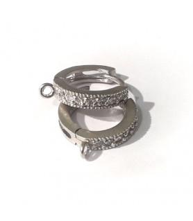 Creole mit Zirkonia, Silber rhodiniert matt Steindesign - 2
