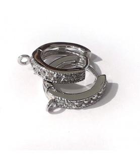 Creole mit Zirkonia, Silber rhodiniert Steindesign - 1