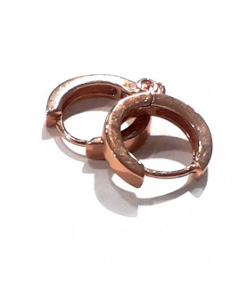 Creole mit Öse, Silber rosé vergoldet Steindesign - 1