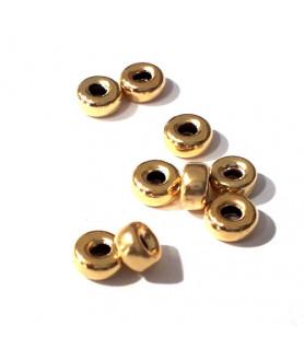 Hohlringe 4,5 mm, 10 Stück, Silber vergoldet  - 1