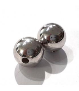 Kugeln 10 mm, 2 Stück, Silber rhodiniert  - 1