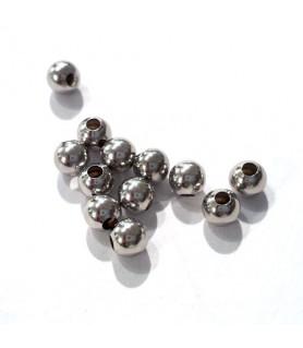 Quetschkugeln klein Silber rhodiniert, 20 Stück  - 2