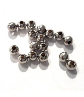 Quetschkugeln groß Silber rhodiniert, 20 Stück  - 1