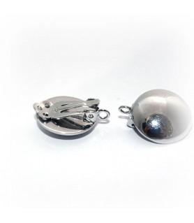 Ohrclipspatent groß, Silber rhodiniert Steindesign - 1