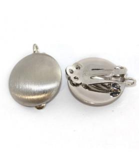 Ohrclipspatent groß, Silber rhodiniert matt Steindesign - 1
