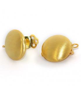 Ohrclipspatent groß, Silber vergoldet matt Steindesign - 1