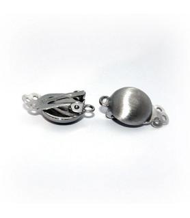 Ohrclipspatent klein, Silber rhodiniert matt Steindesign - 1