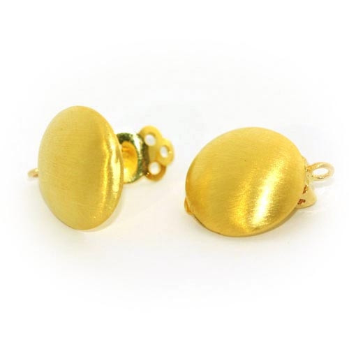 Earclip patent round small, silver gold-plated, satin Steindesign - 1