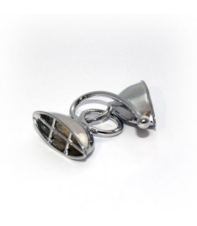 Doppelhaken oval groß, Silber rhodiniert Steindesign - 1