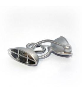 Doppelhaken oval groß, Silber rhodiniert satiniert  - 1
