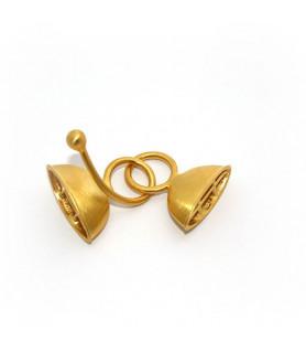 Doppelhaken oval groß, Silber vergoldet satinniert  - 1