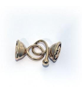 Doppelhaken oval klein, Silber rhodiniert Steindesign - 1