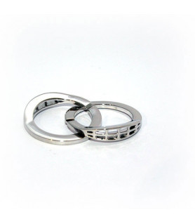 Doppelringschließe 30mm Silber rhodiniert Steindesign - 1