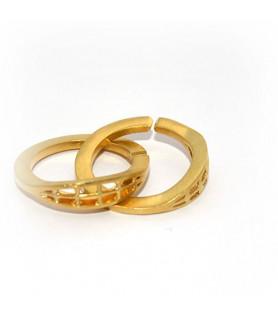 Doppelringschließe 30mm Silber vergoldet satiniert  - 1