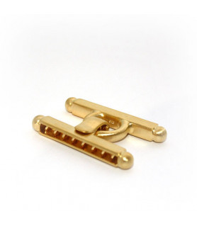 bar buckle large, gold-plated silver satin  - 1