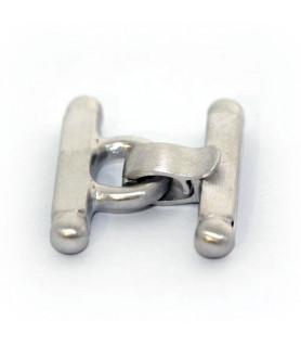 bar buckle medium, silver rhodium plated satin  - 1